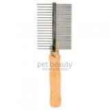 Kamm pet beauty - Metall mit Holzgriff, doppelseitig